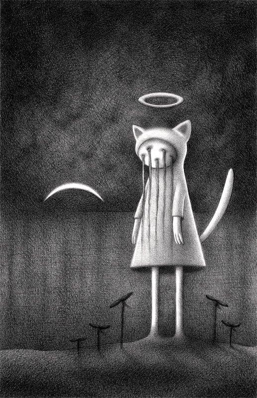 """Nighttime Halo Kitty"" art print"