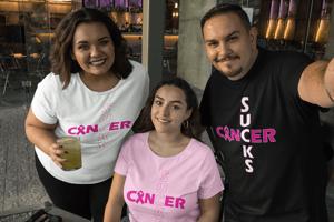 Image of Unisex Cancer Sucks Short & Long Sleeve T-Shirt in Black, Pink & White