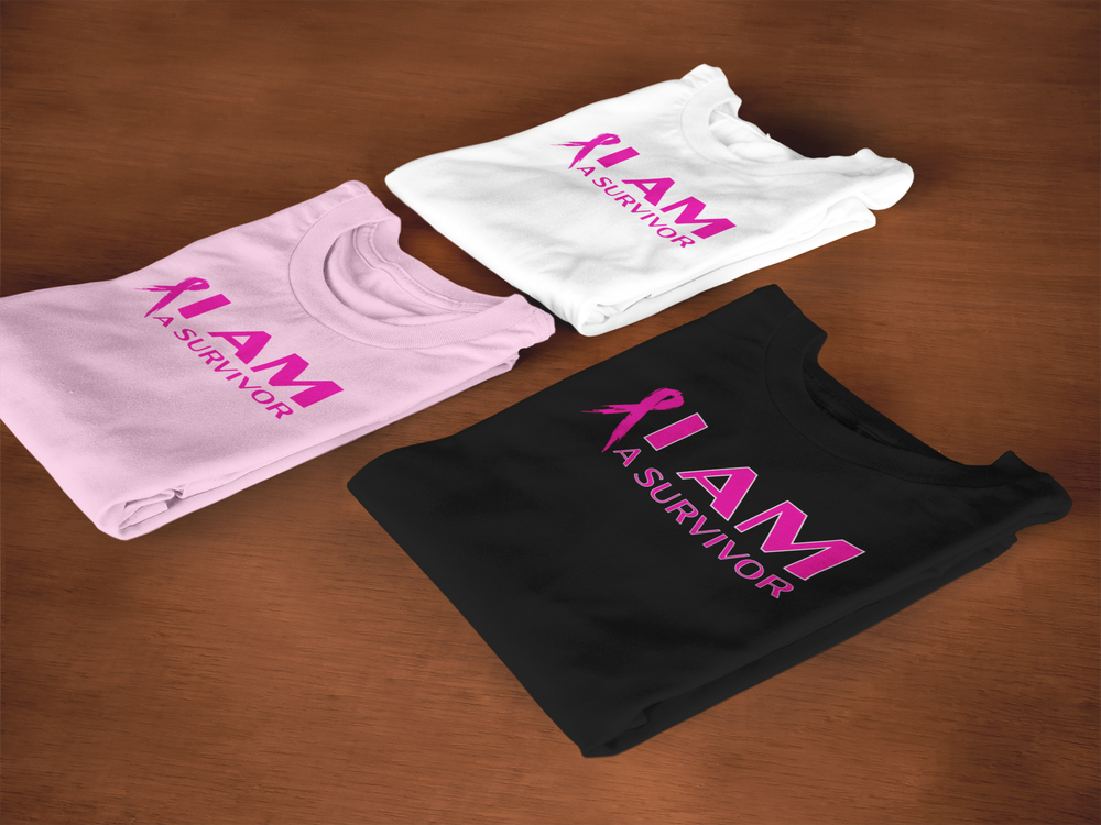 Image of Unisex I AM A Survivor Short & Long Sleeve T-Shirt in Black, Pink or White