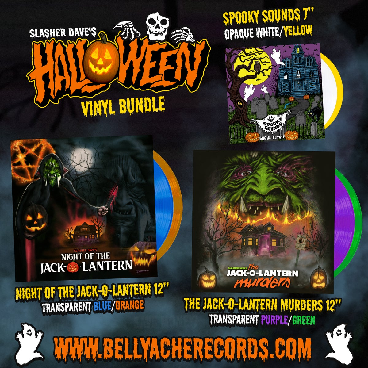Image of Slasher Dave's 2021 Halloween Vinyl Bundle #2  YELLOW/BLUE/GREEN - *PRE-ORDER*