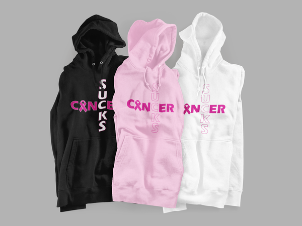 Image of Unisex Cancer Sucks Hoodie in Black, Pink or White