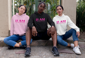 Image of Unisex I AM A Survivor Hoodie in Black, Pink or White