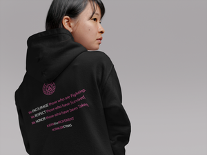 Image of We Will Not Be Stopped Breast Cancer Hoodie in Black, Pink, Navy, & Grey