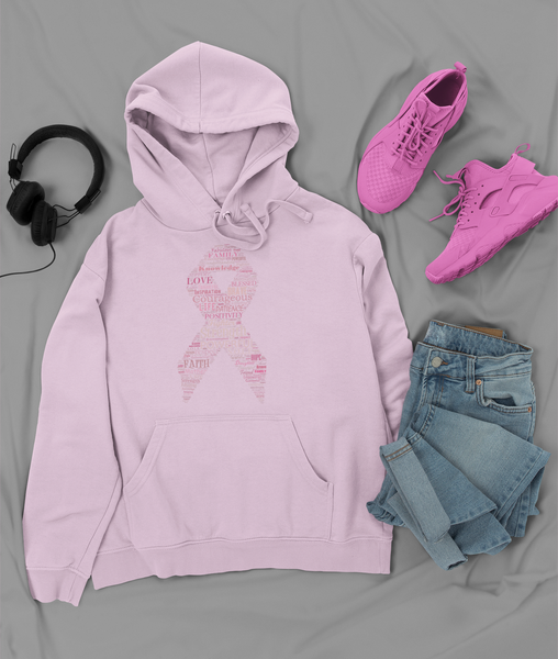 Image of Pink Ribbon Breast Cancer Hoodie in Black, Pink,  Navy, Grey or White