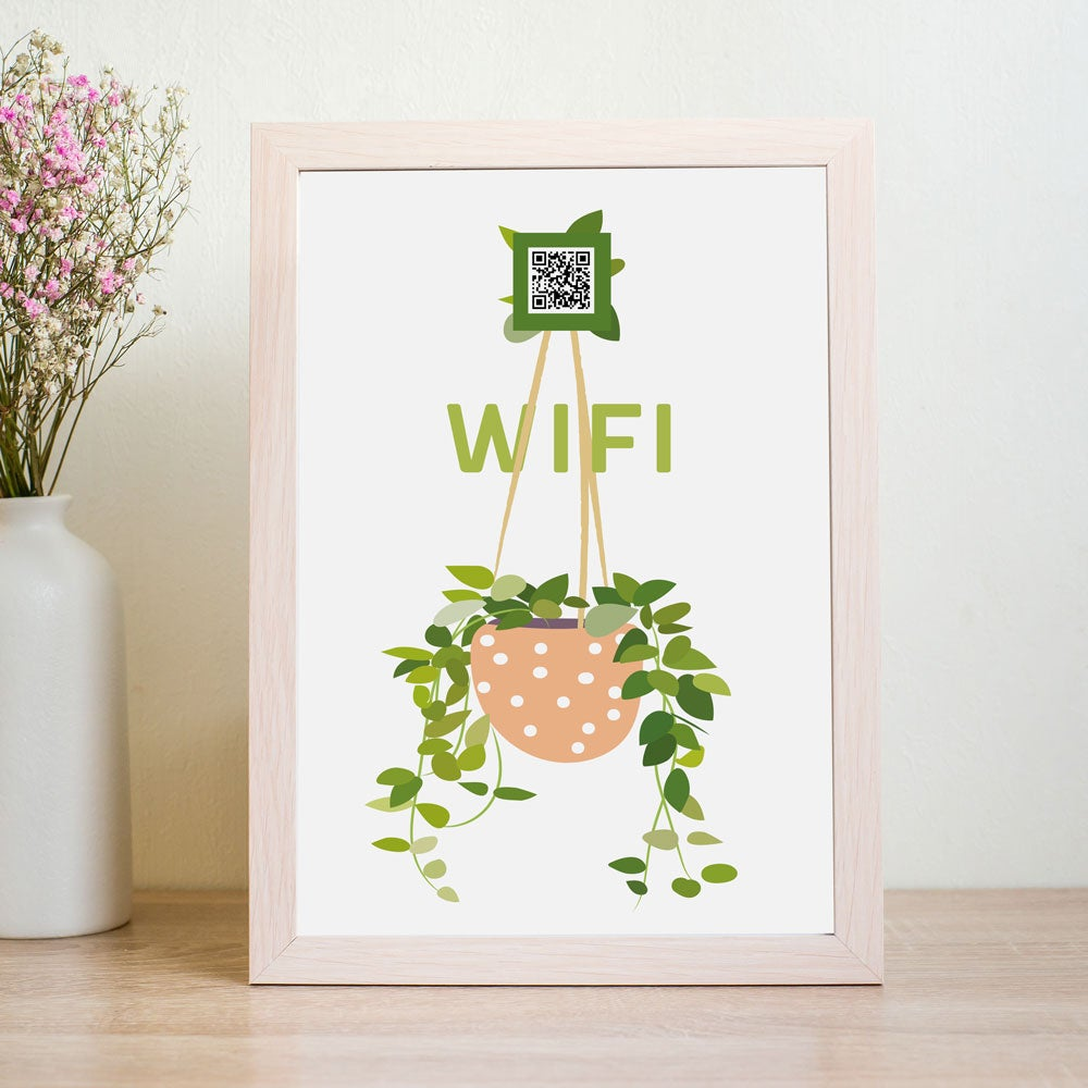 Image of 5 Wifi QR Code Prints in Hanging Plant