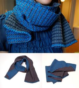 Image of Karenina's reversible cerulean and gray scarf