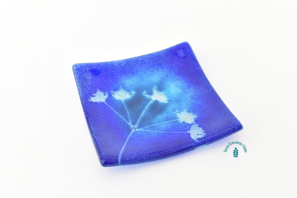 Image of Blue Aqua Flower Head Ring - Trinket Dish