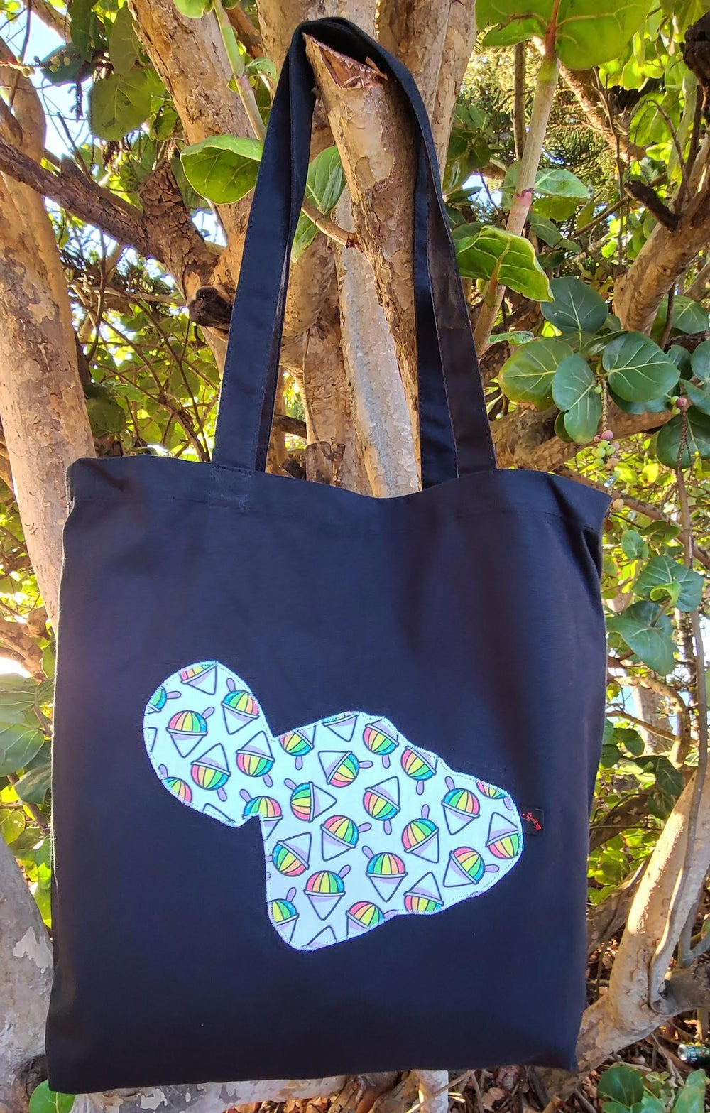 Image of Shaved Ice Maui Canvas Tote Bag- Black