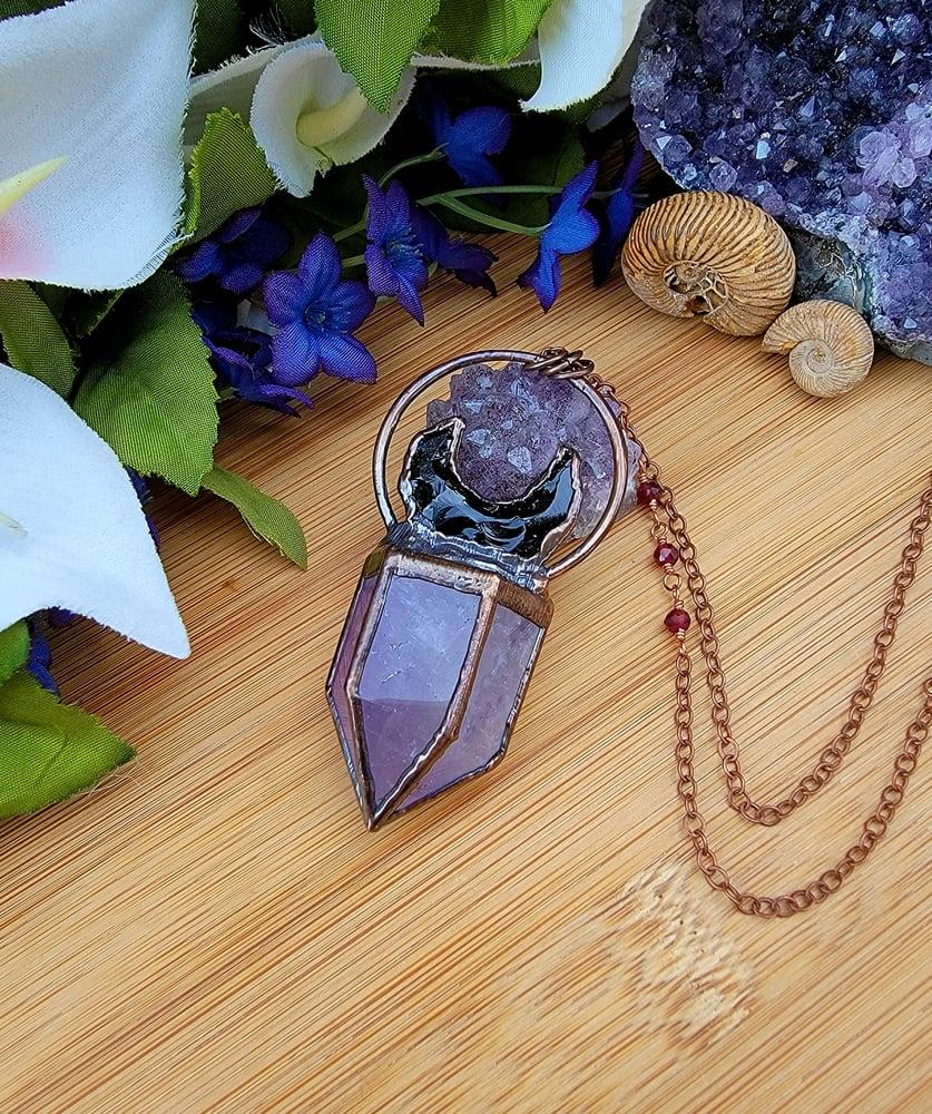 Image of Amethyst + Obsidian Celestial Pendant #2