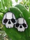 Pearl White XL Skull Earrings