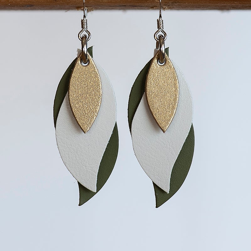 Image of Handmade Australian leather leaf earrings - Matte gold, cream, olive [LMT-209]