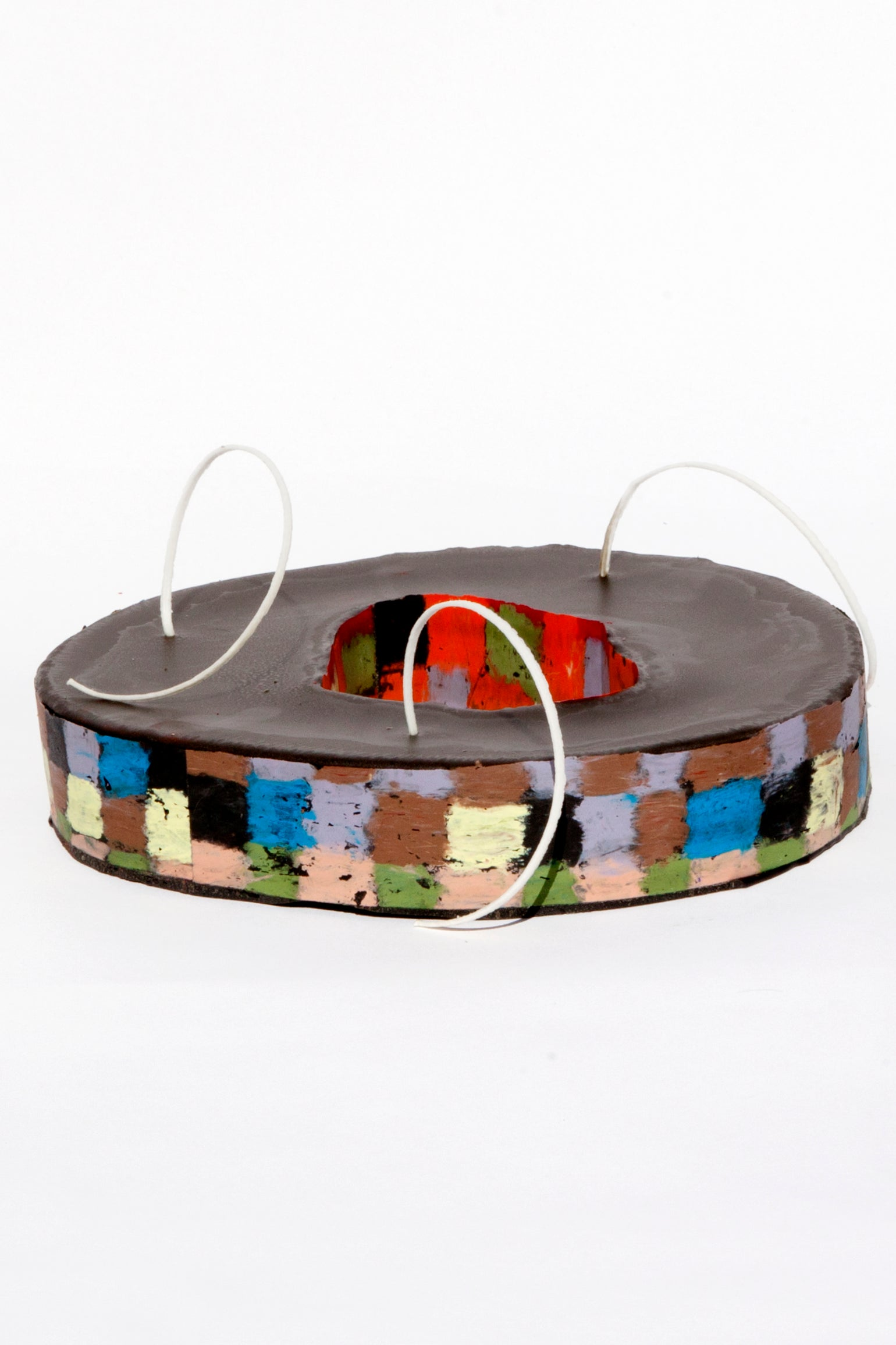 Image of Wheel Void in soft yellow, black, clay pink, brown, red, olive green, blue &  lilac