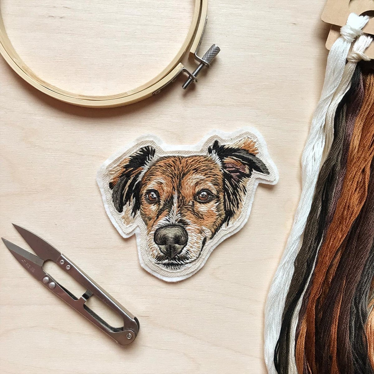 Custom Hand Embroidered Pet Portrait Patch