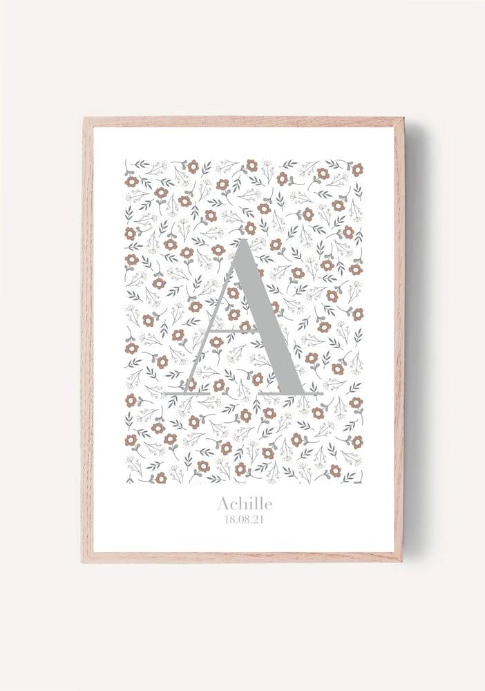 Image of Affiche - Initiale céladon imprimé d'automne - personnalisable