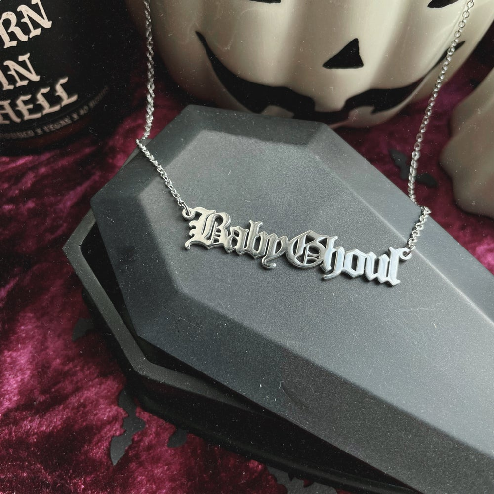 Image of Baby Ghoul Old Gothic Stainless Steel Script Necklace
