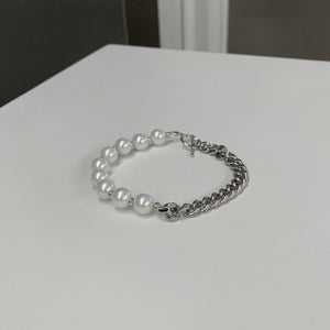 Image of ARMO - Pearl + Chain Single Bracelet (8mm)