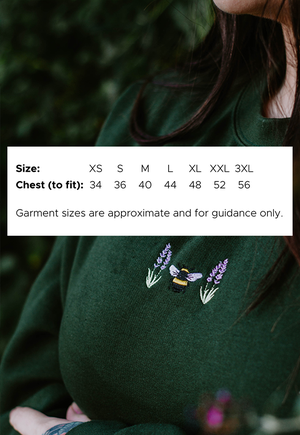 Image of Lavender Bee Embroidered Sweatshirt ~ Forest Green