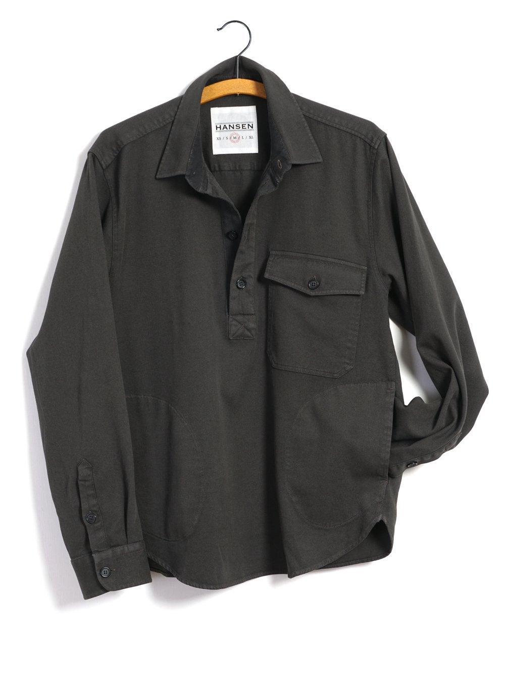 Hansen Garments ROBERT | Casual Pull-on Shirt | light grey, dark forrest