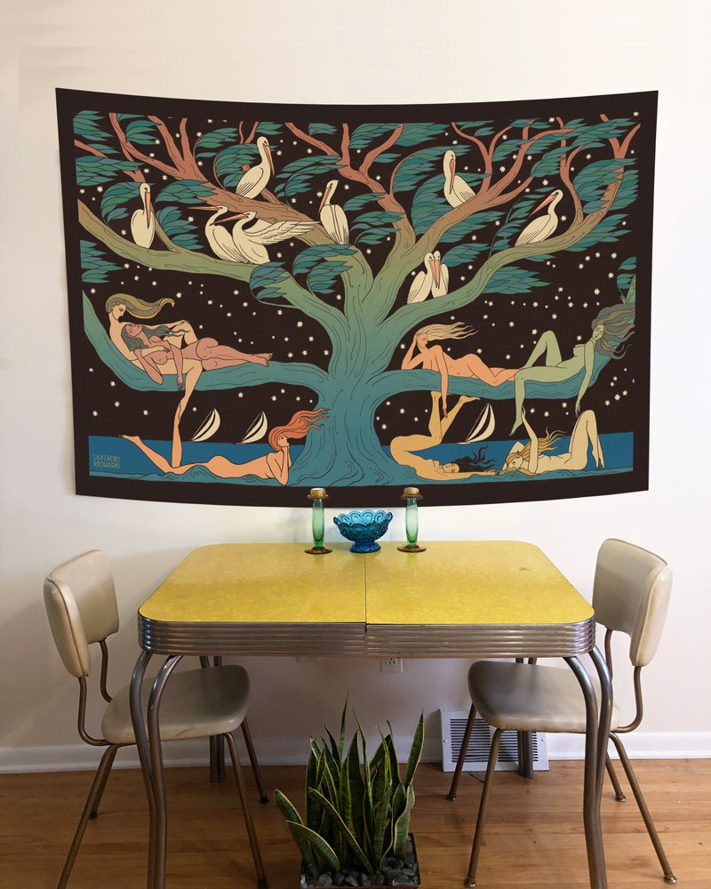 Image of Pelicans & Pleiades  - Tapestry PRE ORDER