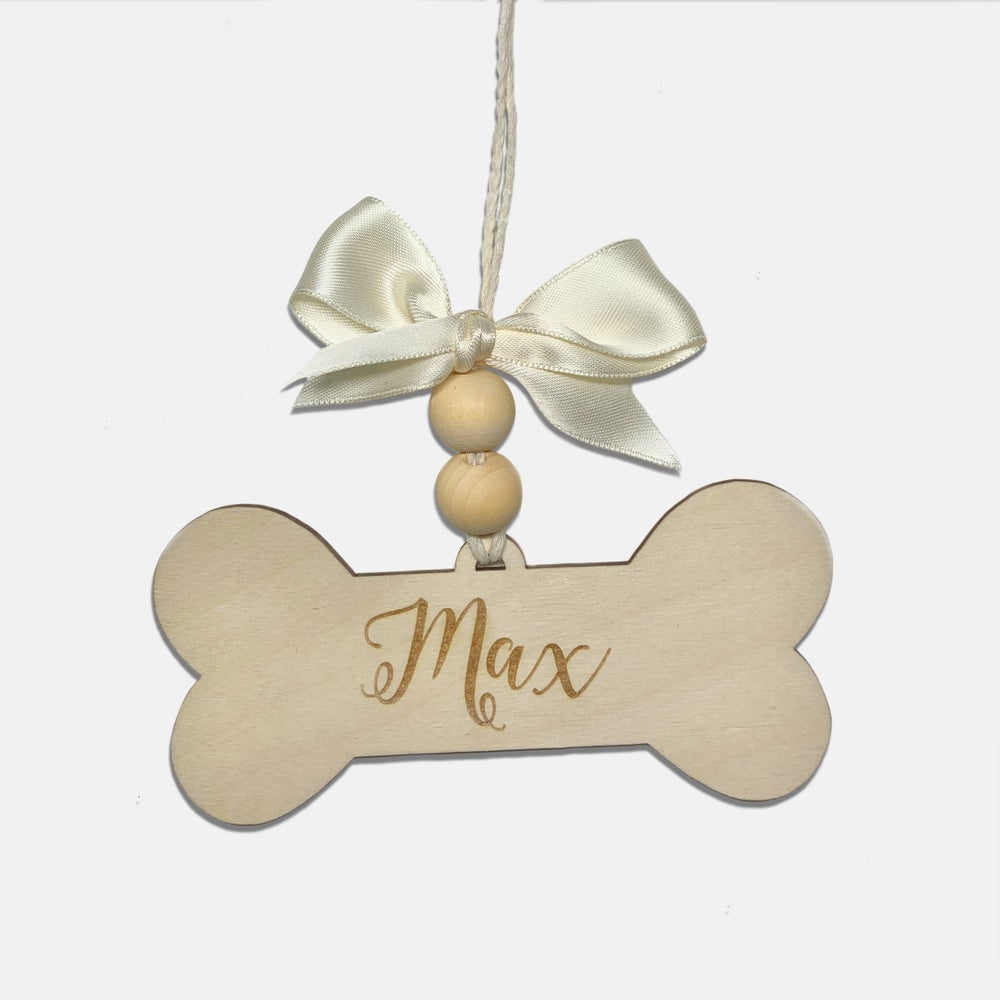 Image of Personalized Engraved Pup Name Christmas Ornament