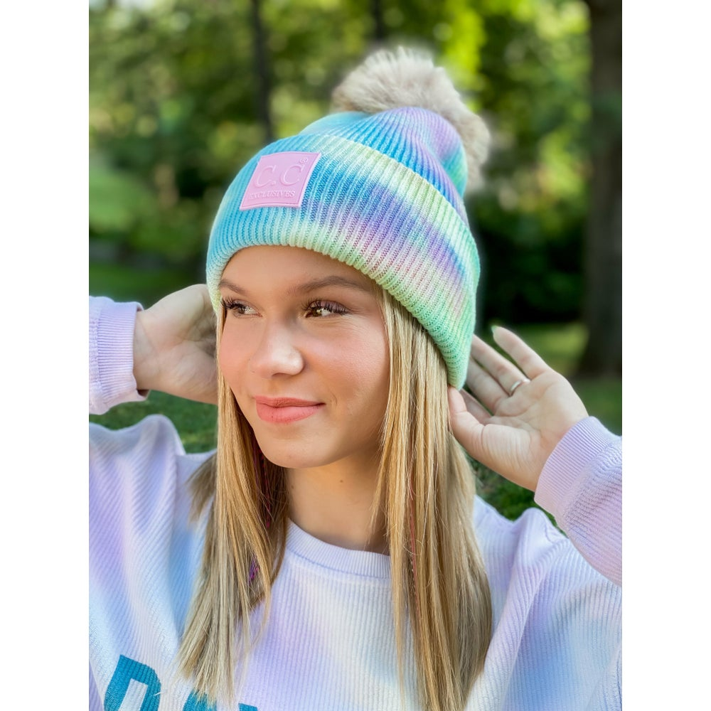 Image of POM Tie Dye Beanies - More Colors
