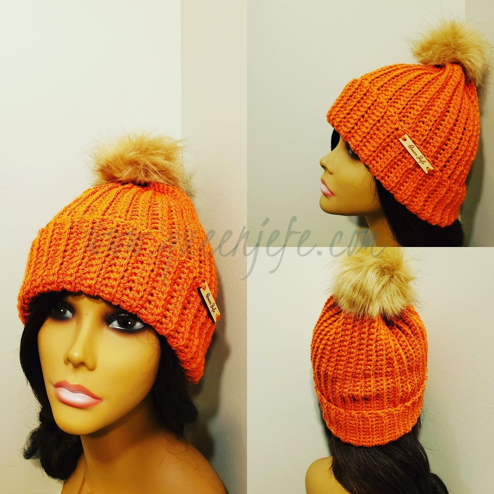 Image of Fitted Ribbed Hat with Faux Fur Pompom