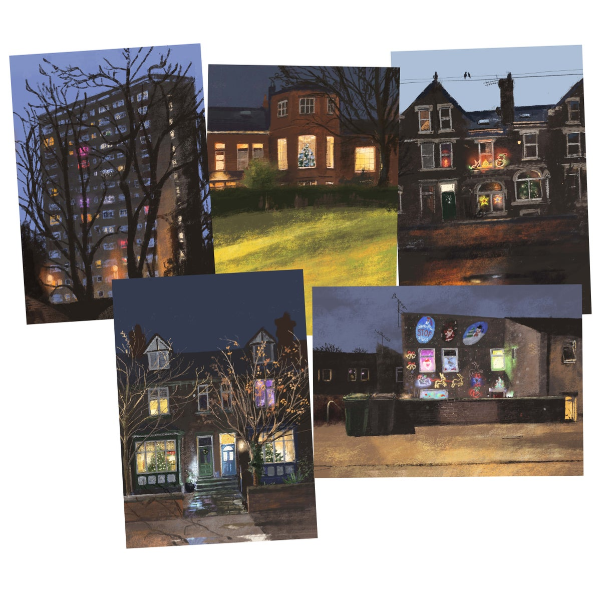 Image of *PREORDER* 'Christmas Houses' Luxury Christmas Cards