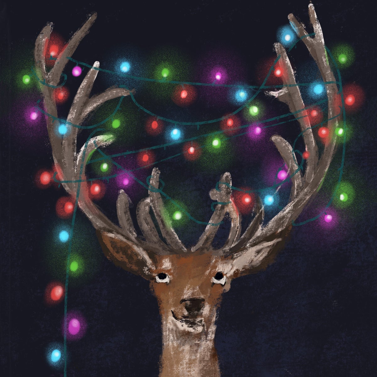 Image of *PREORDER* 'Tangled Antlers' Luxury Christmas Cards (single or multipack)