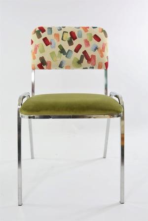 Image of Chaises chromées vert & motif