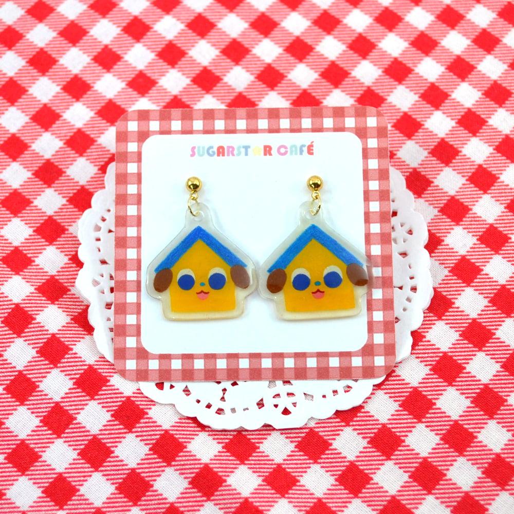 Dog House Stud Earrings - Blue