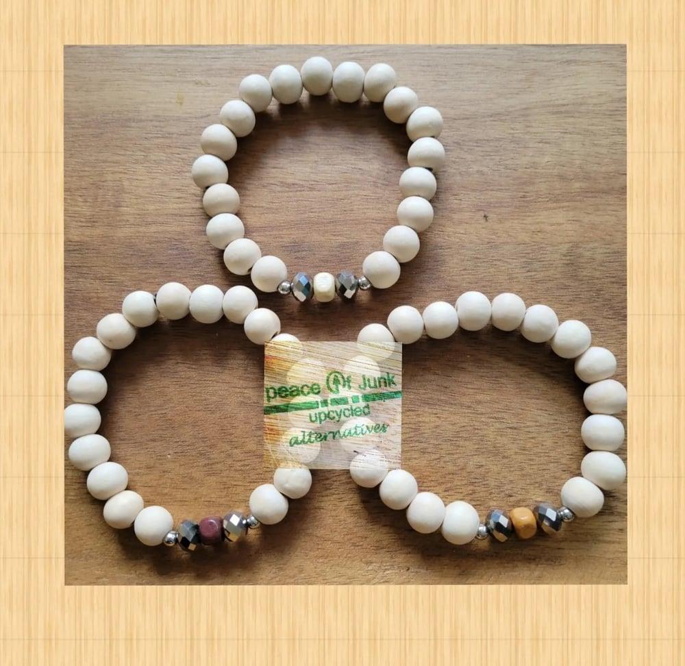 Image of #MINIMALIST WHITE #WOOD #UNISEX (3) STACK #Bracelets 🐚