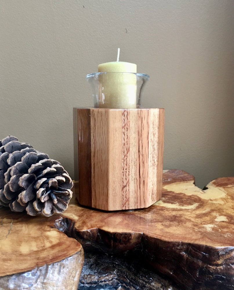 Image of Wood Votive Candle Holder, Glass Votive Wooden Candleholder, Home Accent Candle
