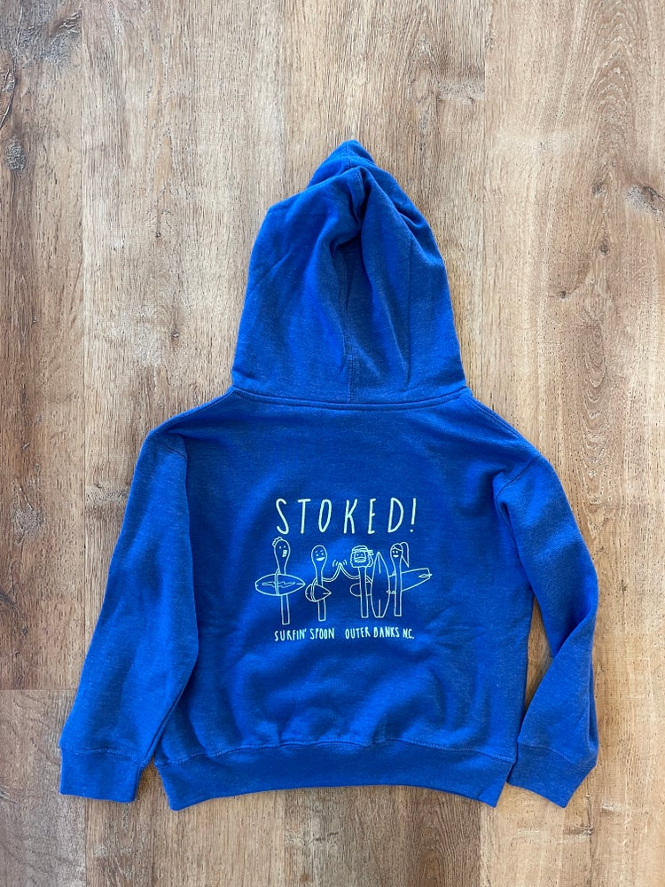 Image of NEW // Font/STOKED Blue Kids Pullover Hoodie