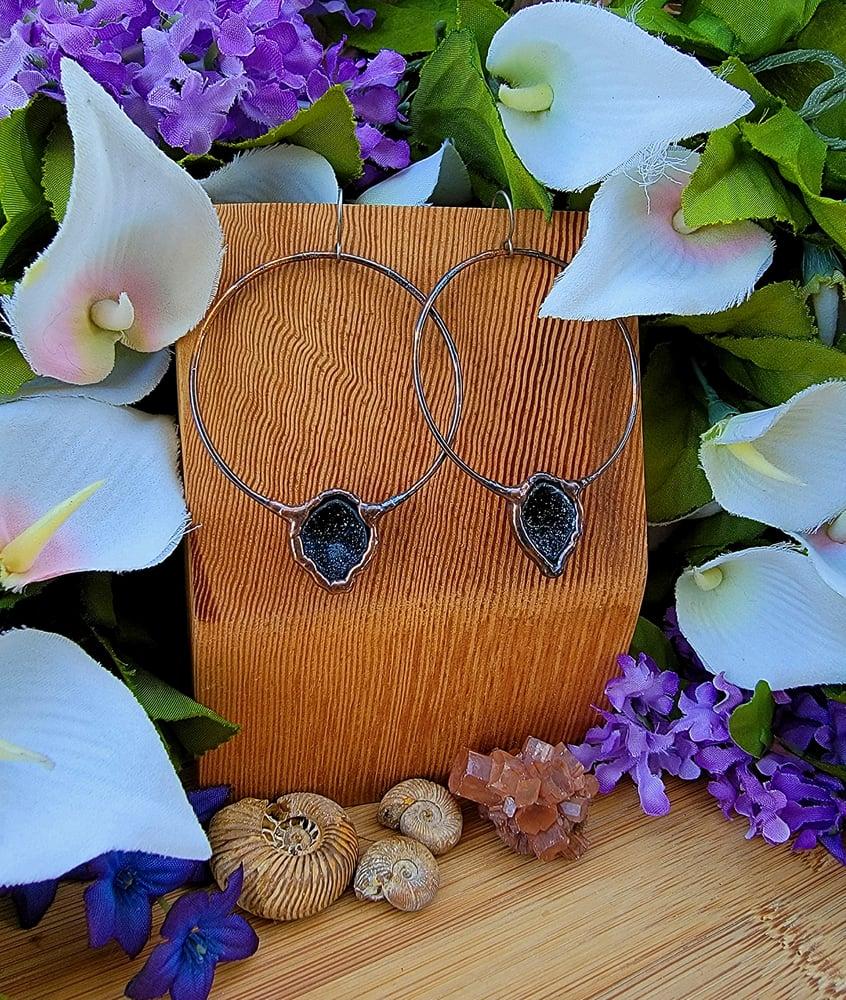 Image of Large Tabasco Geode Hoop Earrings #1
