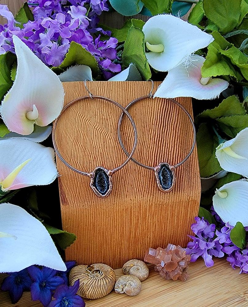 Image of Large Tabasco Geode Hoop Earrings #2