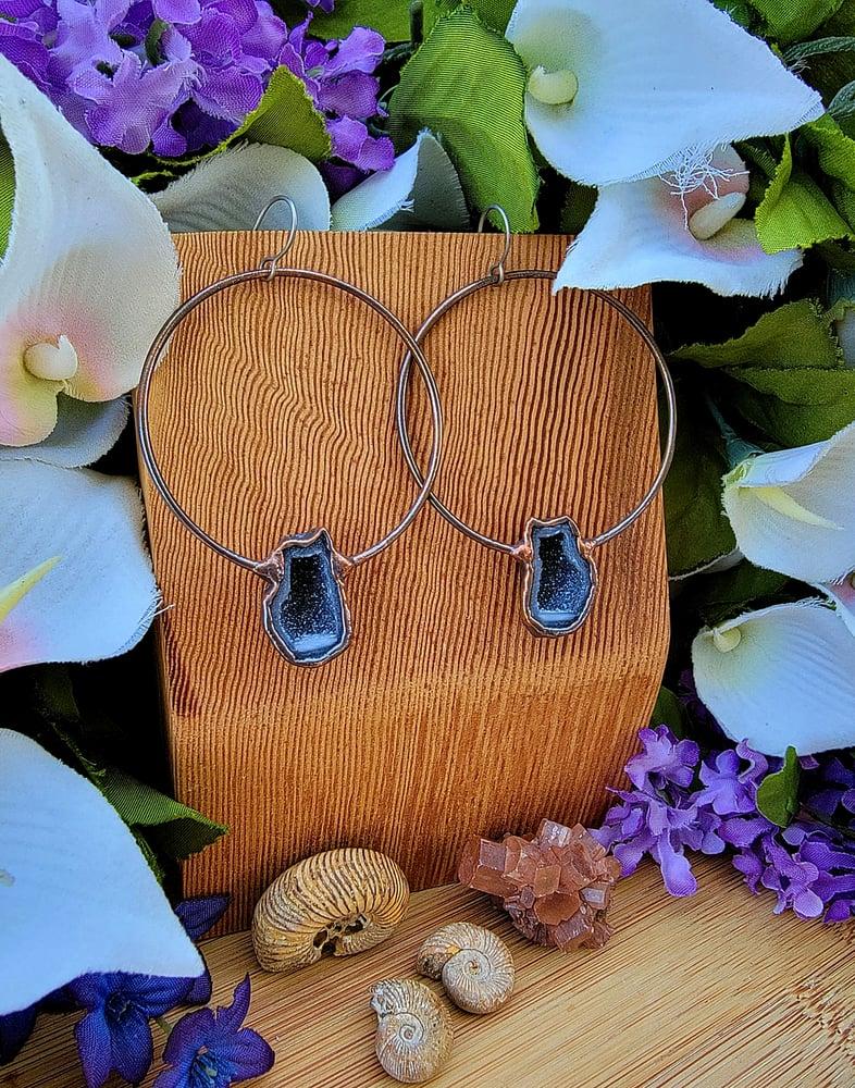 Image of Large Tabasco Geode Hoop Earrings #5