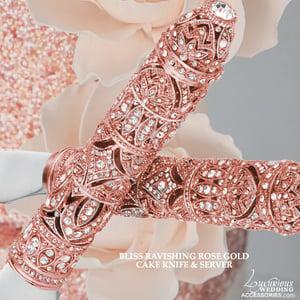 Image of Swarovski Crystal Rose Pink Cake Knife & Server Fleur