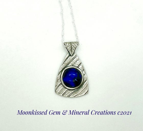 Image of Blue Wave Dichroic Fine Silver Pendant