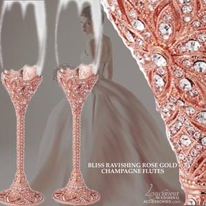 Image of Bliss Rose Pink Swarovski Crystal Champagne Flutes