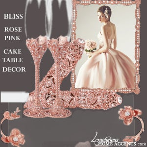Image of Rose Pink Cake Table Serving Tray Set