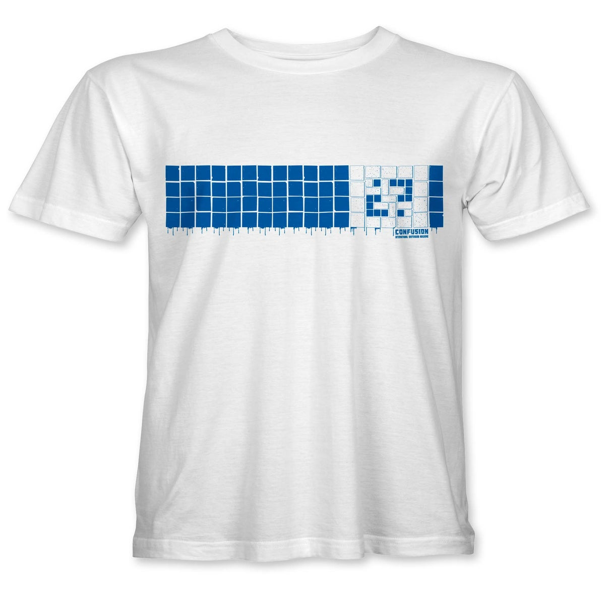 """Image of Confusion - """"Tiles"""" t-shirt  [white tee / blue ink]"""