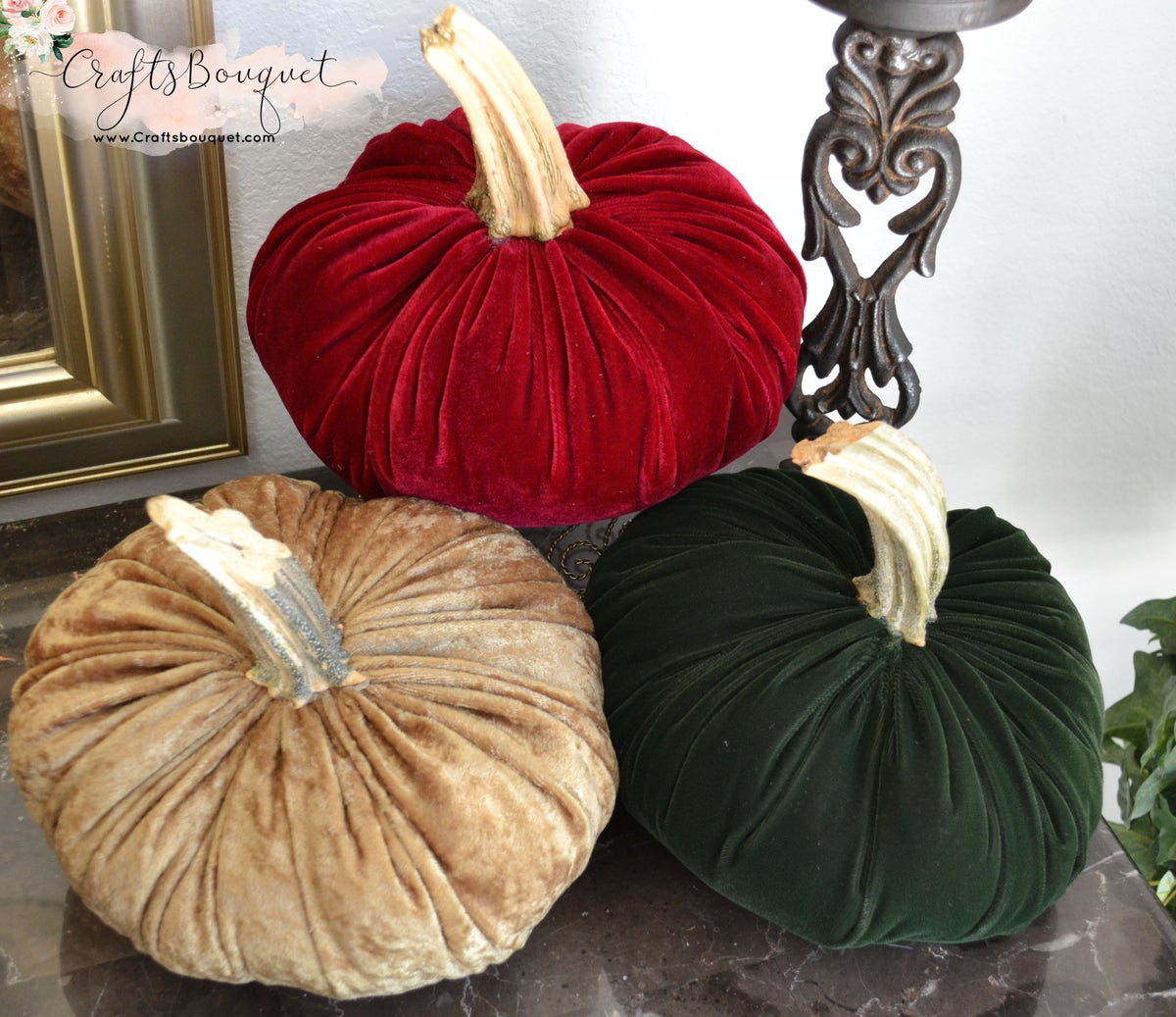 Image of VELVET PUMPKINS WITH REAL STEMS