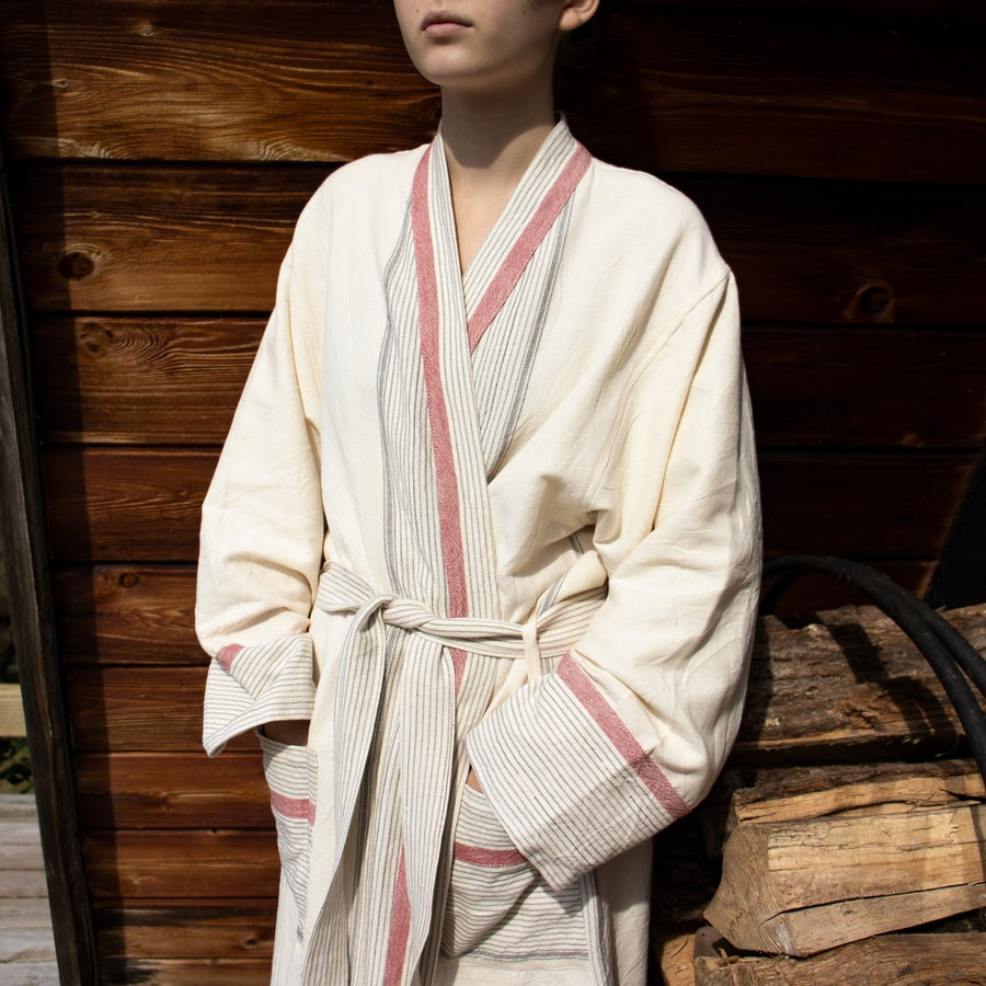 Image of Ivory Cherry Tribeca Long Robe by Home & Loft