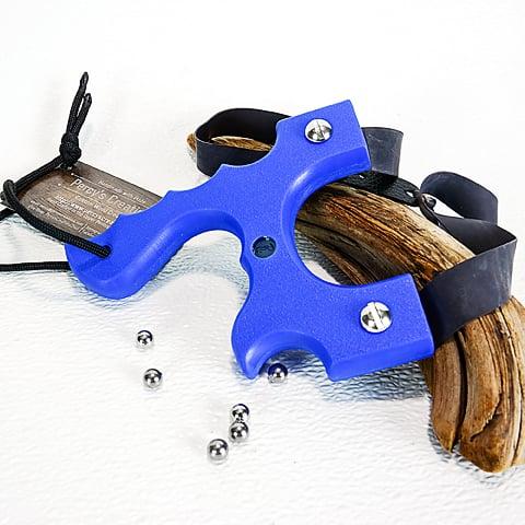 Image of Slingshots Catapults, Blue Textured Polyethylene HDPE, The Menace, Hunter Gift