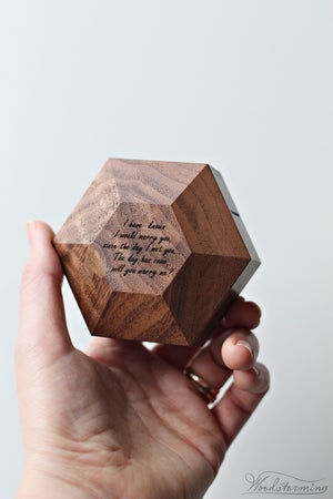 Image of Hexagon proposal ring box, modern minimalist ring display by Woodstorming