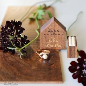 Image of Secret pocket size house ring box, engraved wood ring box for proposal