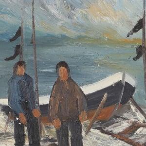 Image of Swedish Oil Painting, 'Fishermen' Arne Wallsten