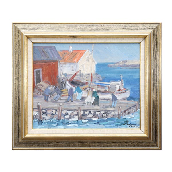Image of Swedish Oil Painting,  'Quayside,' Ake Wickstrom