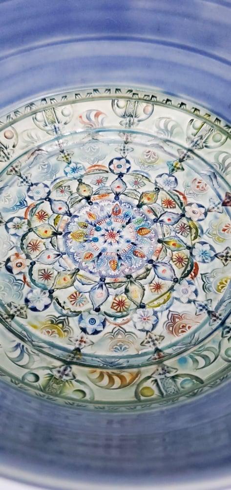 Image of Large Handpainted Mandala Serving Bowl