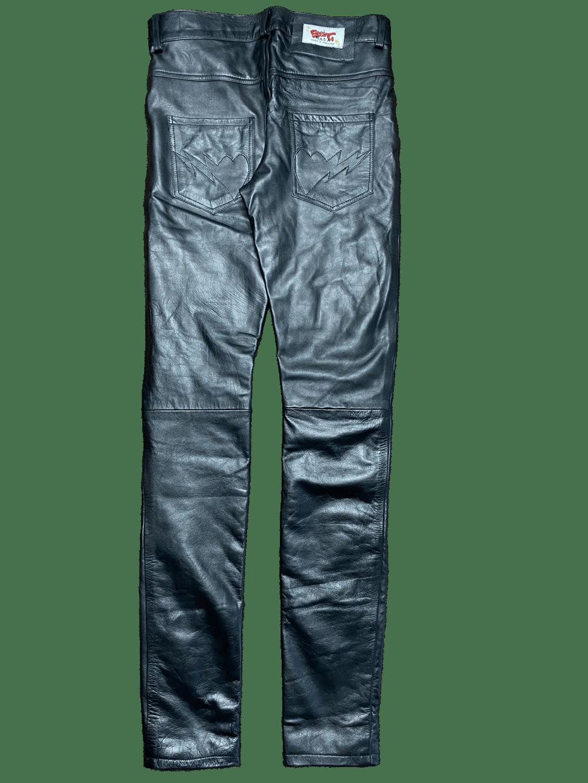 TRIPLE BLACK SUPER SKINNY LEATHER BONE PANTS